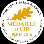 Médaille d'or du concours général agricole de Paris 2016